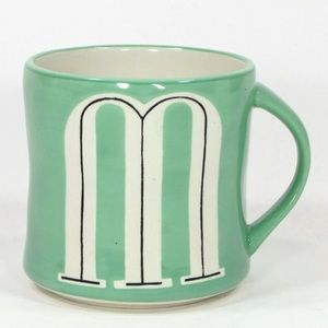 NEW Anthropologie M Monogram Coffee Mug Blue Green